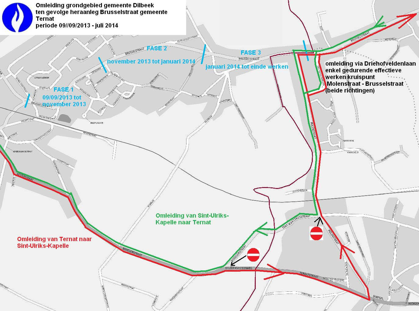Omleiding Brusselstraat Dilbeek Ternat