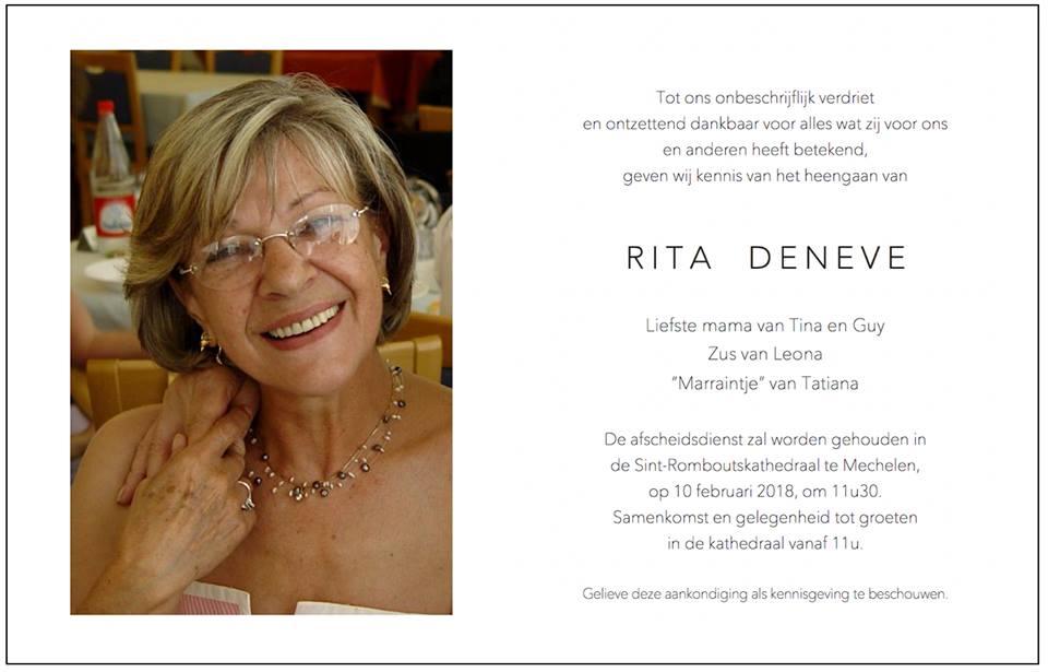 Rita DENEVE rouwprentje