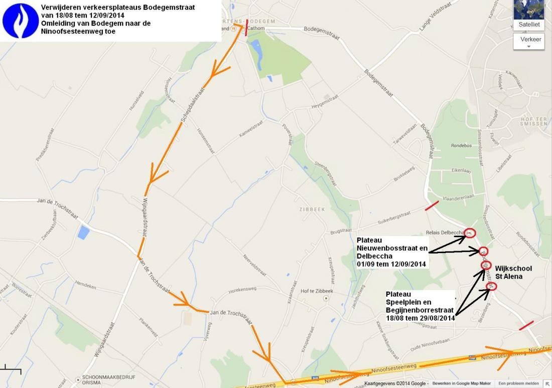 omleiding Bodegemstraat richting N8