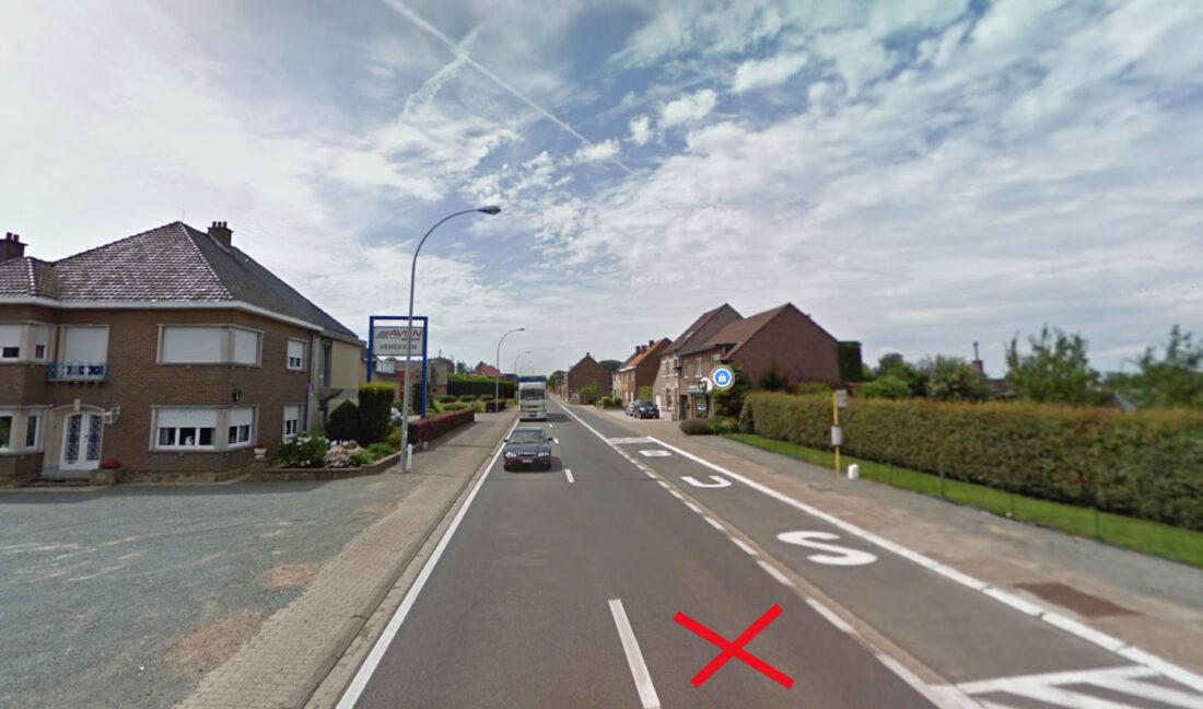 Werken aan fietspad Steenweg op Vilvoorde