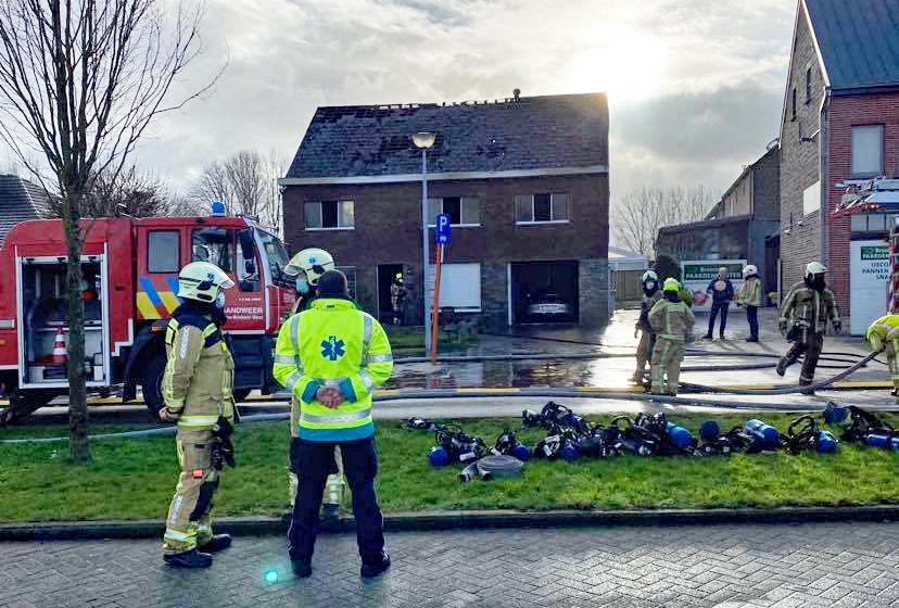 Brand met asbest in Opwijk