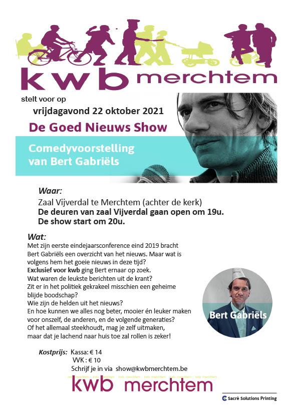 KWB Merchtem stelt voor: Comedyvoorstelling De goed nieuws show met Bert Gabriëls